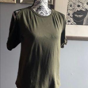 Lou&Grey olive green cold shoulder teen xs nwot